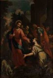 Bott. lucchese sec. XVII, Cristo e l'adultera dipinto a olio su tela