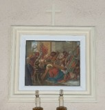 Ambito toscano sec. XX, Dipinto di Gesù cade la prima volta
