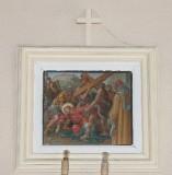 Ambito toscano sec. XX, Dipinto di Gesù che cade la seconda volta