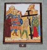 Ambito italiano sec. XXI, Dipinto di Gesù aiutato dal cireneo