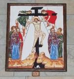 Ambito italiano sec. XXI, Dipinto di Gesù inchiodato alla croce