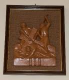 Ambito toscano sec. XX, Bassorilievo di Gesù che cade la prima volta