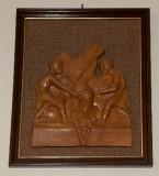 Ambito toscano sec. XX, Bassorilievo di Gesù aiutato dal cireneo