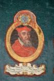 Ambito laziale sec. XVIII-XIX, Dipinto murale con cardinale Hnricus
