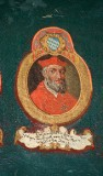 Ambito laziale sec. XVIII-XIX, Dipinto murale con cardinale Ordeonus