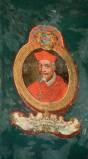 Ambito laziale sec. XVIII-XIX, Dipinto murale con cardinale Ion Evangelista