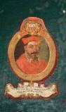 Ambito laziale sec. XVIII-XIX, Dipinto murale con cardinale Iulius