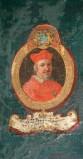 Ambito laziale sec. XVIII-XIX, Dipinto murale con cardinale Bernardinus