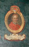 Ambito laziale sec. XVIII-XIX, Dipinto murale con cardinale Giacomo
