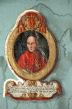 Ambito laziale sec. XIX, Dipinto murale con cardinale Franciscus Xaverius