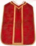 Manif. romana sec. XIX, Pianeta rossa broccata oro a fiori e spighe