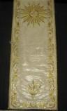 Manifattura ligure sec. XIX, Velo omerale in gros bianco con ricami in oro