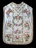 Manifattura ligure sec. XIX, Pianeta in gros de Tours bianco ricamato