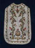 Manifattura ligure sec. XVII, Pianeta bianca con ricami floreali e fitomorfi