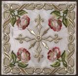 Manifattura lombarda sec. XVIII, Borsa bianca in damasco ricamato
