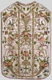 Manifattura lombarda sec. XVIII, Pianeta bianca in damasco ricamato