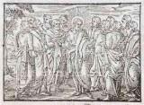 Ambito tedesco seconda metà sec. XVI, Silografia con Gesù Cristo e gli apostoli