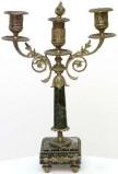 Ambito francese (?) sec. XIX, Candelabro in marmo e ottone 1/2