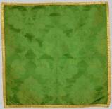 Manifattura lombarda sec. XX, Velo di calice verde in damasco e raso ricamato