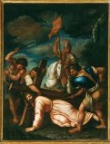 Ambito pesarese sec. XVII, Gesù cade sotto la croce la seconda volta