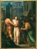 Ambito pesarese sec. XVII, Gesù aiutato dal Cireneo a portare la croce
