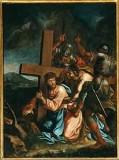 Ambito pesarese sec. XVII, Gesù cade sotto la croce la prima volta