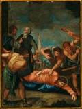 Ambito pesarese sec. XVII, Gesù cade sotto la croce la terza volta