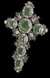 Bottega siciliana sec. XVIII, Croce pettorale di smeraldi e brillanti