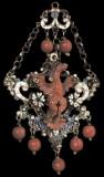 Bottega trapanese inizio sec. XVII, Ex voto a pendente con aquila in corallo