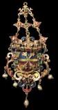 Bottega siciliana inizio sec. XVII, Ex voto a pendente con stemma smaltato