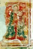 Ambito umbro sec. XV, Madonna in trono col Bambino su sfondo rosso