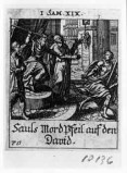 Küsel J. C.-Küsel M. M. (1688-1700), Saul tenta di colpire Davide con la lancia