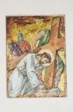 Pittino F. sec. XX, Gesù cade sotto la croce la terza volta